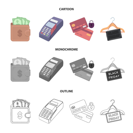 Purse, money, touch, hanger and other equipment. E commerce set collection icons in cartoon,outline,monochrome style vector symbol stock illustration web.