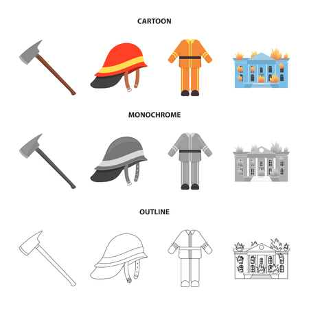 Ax, helmet, uniform, burning building. Fire departmentset set collection icons in cartoon,outline,monochrome style vector symbol stock illustration web.