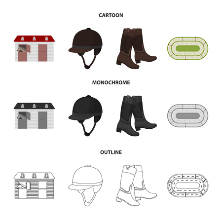 Boots, grass, stadium, track, rest .Hippodrome and horse set collection icons in cartoon,outline,monochrome style vector symbol stock illustration web. 向量圖像