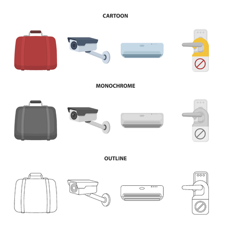 Luggage, surveillance camera, air conditioning, do not disturb the sign.Hotel set collection icons in cartoon,outline,monochrome style vector symbol stock illustration web.