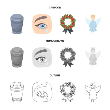 The urn with the ashes of the deceased, the tears of sorrow for the deceased at the funeral, the mourning wreath, the angel of death. Funeral ceremony set collection icons in cartoon,outline,monochrome style vector symbol stock illustration web.