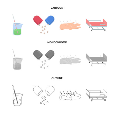 Solution, tablet, acupuncture, hospital gurney.Medicine set collection icons in cartoon,outline,monochrome style vector symbol stock illustration web.