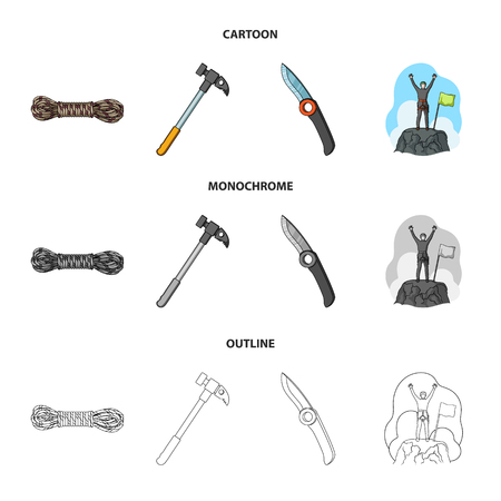 Climber on conquered top, coil of rope, knife, hammer.Mountaineering set collection icons in cartoon,outline,monochrome style vector symbol stock illustration web.