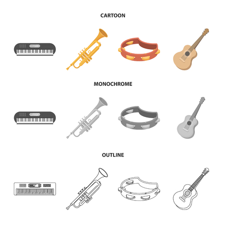 Electro organ, trumpet, tambourine, string guitar. Musical instruments set collection icons in cartoon,outline,monochrome style vector symbol stock illustration web.