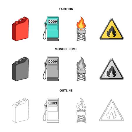 Canister for gasoline, gas station, tower, warning sign. Oil set collection icons in cartoon,outline,monochrome style vector symbol stock illustration web. Ilustração