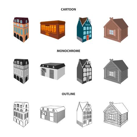 Casa residencial de estilo inglés, una cabaña con vidrieras, un edificio de cafetería, una cabaña de madera. Iconos de colección de conjunto arquitectónico y de construcción en dibujos animados, esquema, estilo monocromo vector símbolo stock ilustración web.