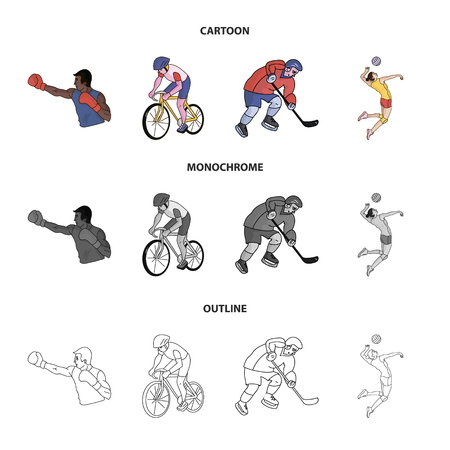 Cycling, boxing, ice hockey, volleyball.sport set collection icons in cartoon,outline,monochrome style vector symbol stock illustration web.