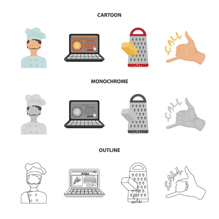 Cook, order by phone, grated cheese, ordering a face gesture.Pizza and pizzeria set collection icons in cartoon,outline,monochrome style vector symbol stock illustration web.