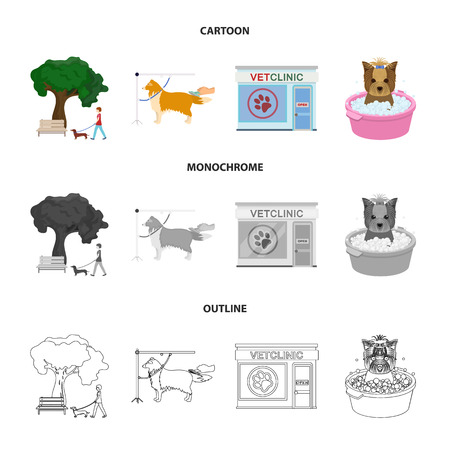 Walking with a dog in the park, combing a dog, a veterinarian office, bathing a pet. Vet clinic and pet care set collection icons in cartoon,outline,monochrome style vector symbol stock illustration web. Vettoriali