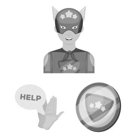 A fantastic superhero monochrome icons in set collection for design. Superhero equipment vector symbol stock illustration. Stock Vector - 105821867