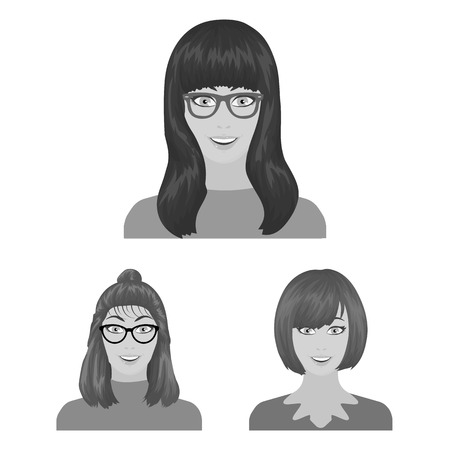 Avatar and face monochrome icons in set collection for design. A person appearance vector symbol stock illustration.