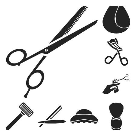 Hairdresser and tools black icons in set collection for design.Profession hairdresser vector symbol stock web illustration. Illustration