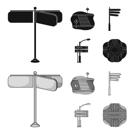 Direction signs and other  icon in black,monochrome style.Road junctions and signs icons in set collection.