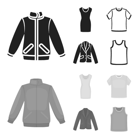 A mans jacket, a tunic, a T-shirt, a business suit. Clothes set collection icons in black,monochrom style vector symbol stock illustration web.