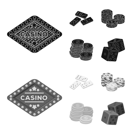 Domino bones, stack of chips, a pile of mont, playing blocks. Casino and gambling set collection icons in black,monochrome style vector symbol stock illustration web. Ilustração