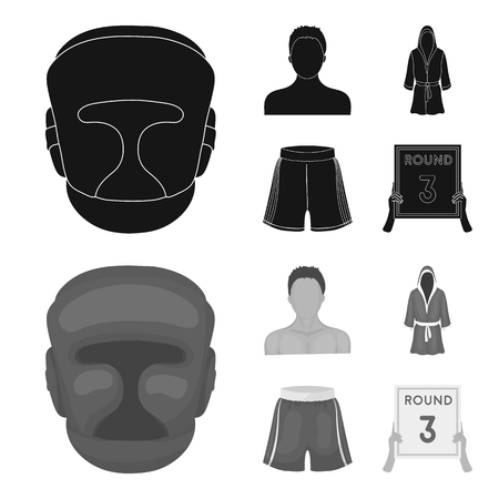 Boxing, sport, mask, helmet.Boxing set collection icons in black,monochrom style vector symbol stock illustration web. Çizim