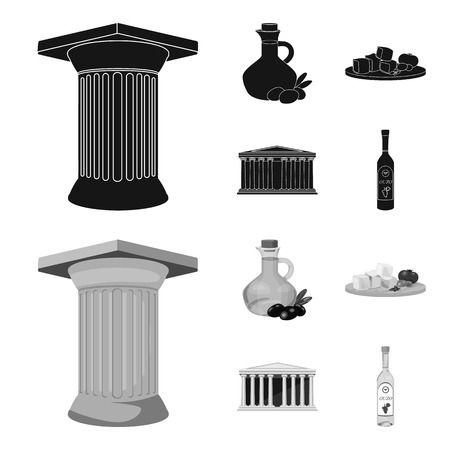 Greece, country, tradition, landmark .Greece set collection icons in black,monochrom style vector symbol stock illustration web.