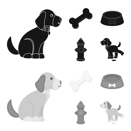 A bone, a fire hydrant, a bowl of food, a pissing dog.Dog set collection icons in black,monochrome style vector symbol stock illustration web.