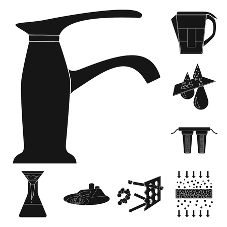 Water filtration system black icons in set collection for design. Cleaning equipment vector symbol stock web illustration. Stock Vector - 105833297