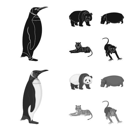 Bamboo bear, hippopotamus, wild animal tiger, monkey . Wild animal set collection icons in black,monochrome style vector symbol stock illustration web. Illustration