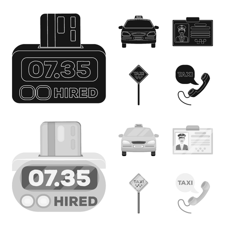 The counter of the fare in the taxi, the taxi car, the driver badge, the parking lot of the car. Taxi set collection icons in black,monochrom style vector symbol stock illustration web.
