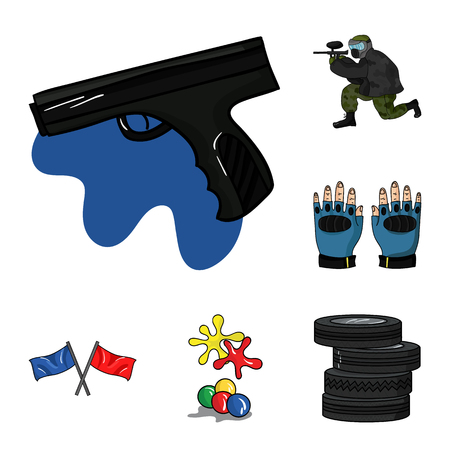 Paintball, team game cartoon icons in set collection for design. Equipment and outfit vector symbol stock web illustration. Foto de archivo - 105833376