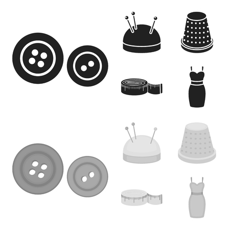Pincushion with pins, thimble, centimeter, dress.Atelier set collection icons in black,monochrome style vector symbol stock illustration web.