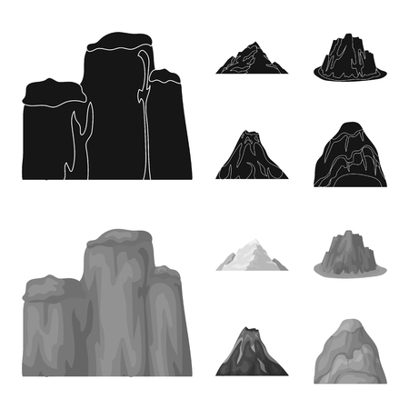 Sheer cliffs, a volcanic eruption, a mountain with a beach, a glacier. Different mountains set collection icons in black,monochrom style vector symbol stock illustration web.