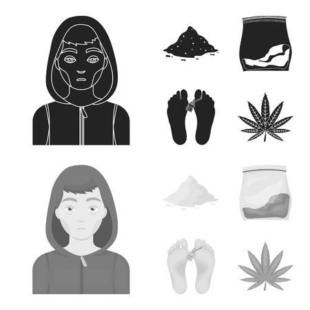 Addict, cocaine, marijuana, corpse.Drug set collection icons in black,monochrom style vector symbol stock illustration web.