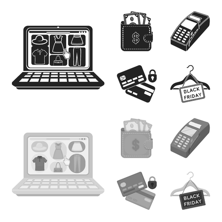 Purse, money, touch, hanger and other equipment. E commerce set collection icons in black,monochrome style vector symbol stock illustration web.