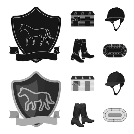 Boots, grass, stadium, track, rest .Hippodrome and horse set collection icons in black,monochrome style vector symbol stock illustration web. Ilustração
