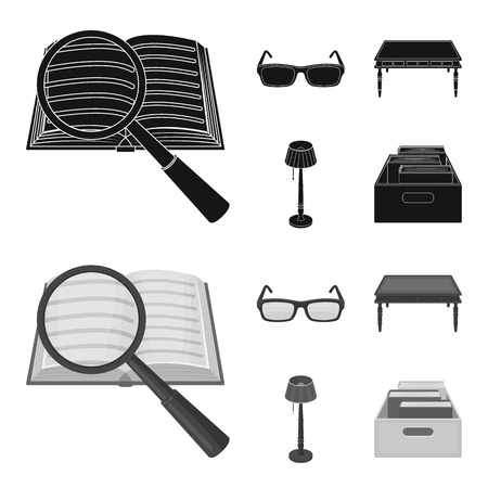 Glasses, a wooden table, a floor lamp, a box with books. A library and a bookstore set collection icons in black,monochrome style vector symbol stock illustration web.