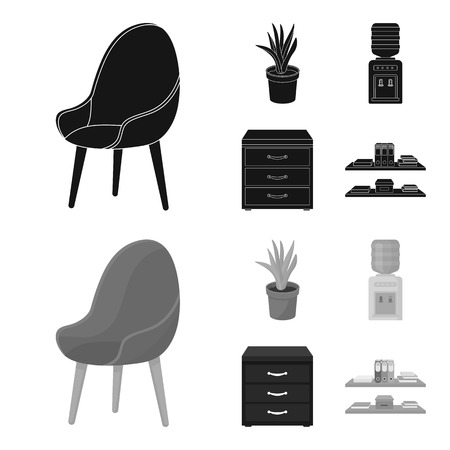 A red chair with a comfortable back, an aloe flower in a pot, an apparatus with clean water, a cabinet for office papers. Office Furniture set collection icons in black,monochrom style vector symbol stock illustration web.