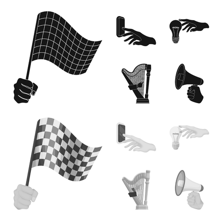 Electric switch button, incandescent lamp and other  icon in black,monochrome style. harp playing, Megaphone in hand icons in set collection.