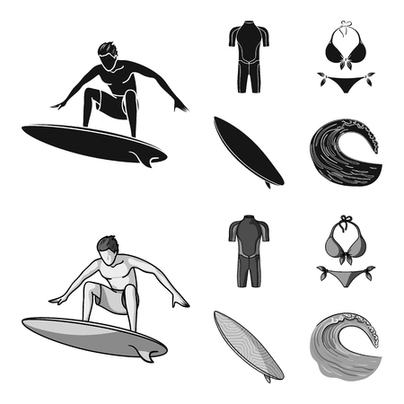 Surfer, wetsuit, bikini, surfboard. Surfing set collection icons in black,monochrom style vector symbol stock illustration .