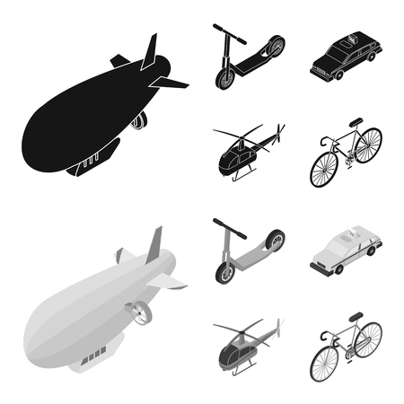 A dirigible, a children scooter, a taxi, a helicopter.Transport set collection icons in black,monochrom style vector symbol stock illustration . Ilustração