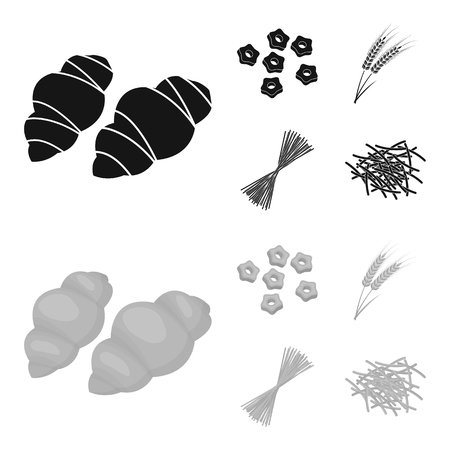 Diversi tipi di pasta. Tipi di pasta set di icone di raccolta in nero, monochrom stile simbolo vettore illustrazione stock.