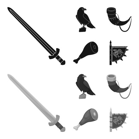 Sitting crow, horn with drink, ham, victory flag. Vikings set collection icons in black,monochrome style vector symbol stock illustration .