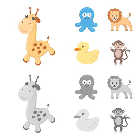 An unrealistic cartoon,monochrome animal icons in set collection for design. Toy animals vector symbol stock  illustration. Çizim