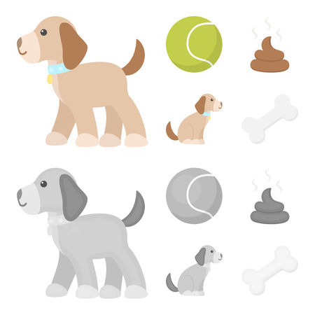 Dog sitting, dog standing, tennis ball, feces. Dog set collection icons in cartoon,monochrome style vector symbol stock illustration .