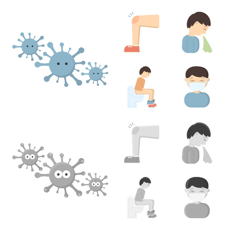 A foot with a bruise in the knee, sneezing sick, a man sitting on the toilet, a man in a medical mask. Sick set collection icons in cartoon,monochrome style vector symbol stock illustration .