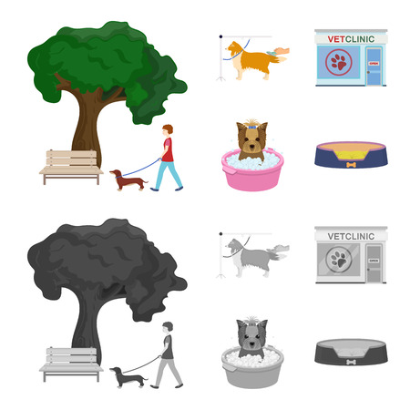Walking with a dog in the park, combing a dog, a veterinarian office, bathing a pet. Vet clinic and pet care set collection icons in cartoon,monochrome style vector symbol stock illustration . Vettoriali