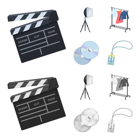 Movies, discs and other equipment for the cinema. Making movies set collection icons in cartoon,monochrome style vector symbol stock illustration .