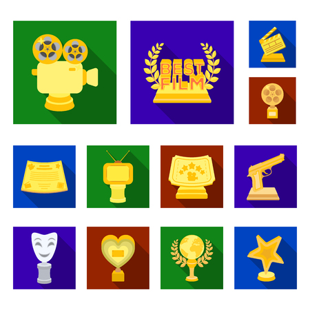 Film awards and prizes flat icons in set collection for design. The World Film Academy vector symbol stock  illustration.