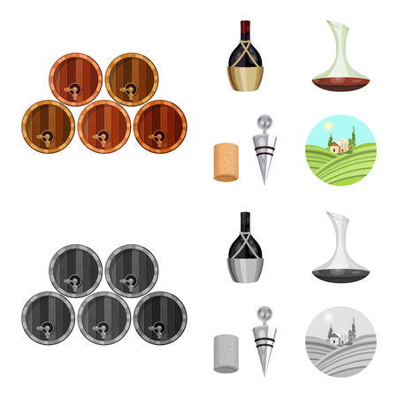 A bottle of wine in a basket, a gafine, a corkscrew with a cork, a grape valley. Wine production set collection icons in cartoon,monochrome style vector symbol stock illustration . Foto de archivo - 105834859