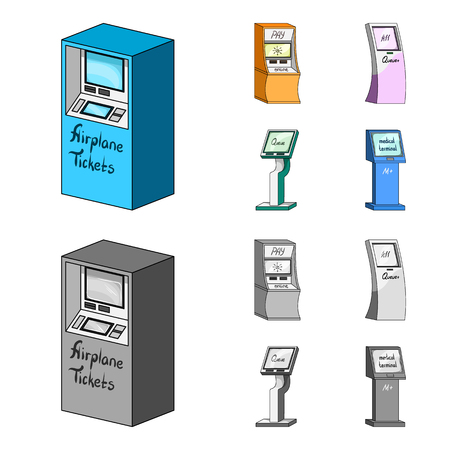 Medical terminal, ATM for payment,apparatus for queue,. Terminals set collection icons in cartoon,monochrome style isometric vector symbol stock illustration .
