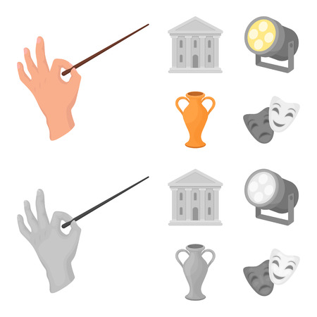 Conductor baton, theater building, searchlight, amphora.Theatre set collection icons in cartoon,monochrome style vector symbol stock illustration .