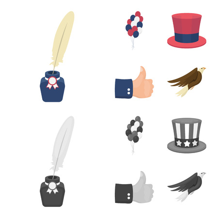 Balloons, inkwell with a pen, Uncle Sam hat. The patriot day set collection icons in cartoon,monochrome style vector symbol stock illustration .