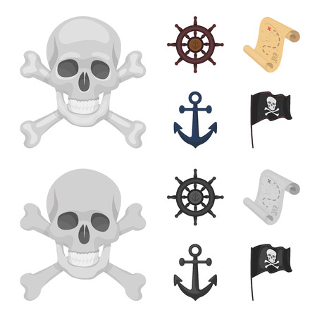 Pirate, bandit, rudder, flag .Pirates set collection icons in cartoon,monochrome style vector symbol stock illustration web.