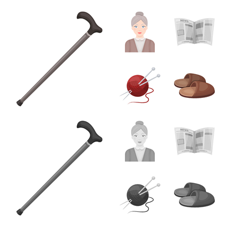 An elderly woman, slippers, a newspaper, knitting.Old age set collection icons in cartoon,monochrome style vector symbol stock illustration . Stock Photo